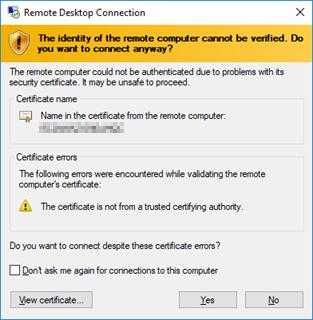 Microsoft Remote Desktop Connection security prompt.