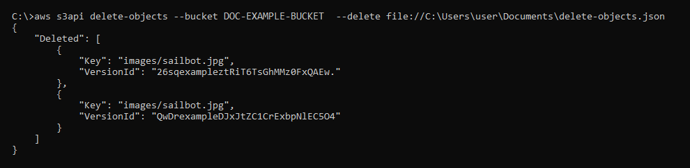 Result of the delete-objects command