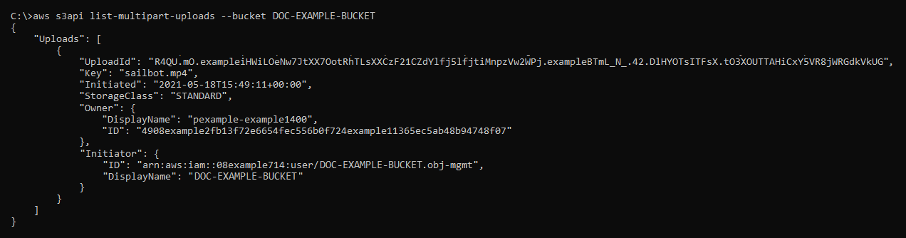 Result of the list-multipart-uploads command