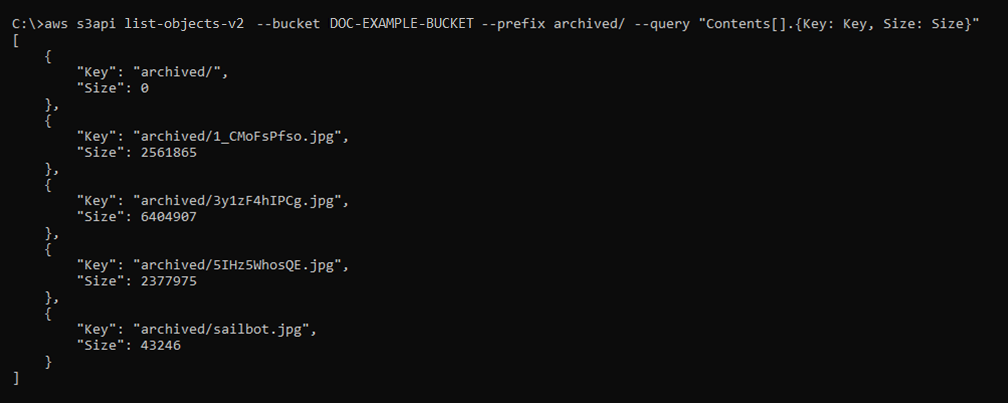 Result of the list-objects-v2 command