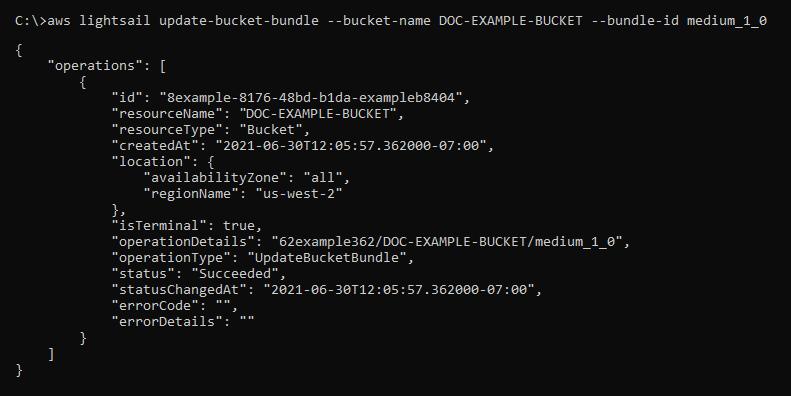 Result of the update bucket bundle request