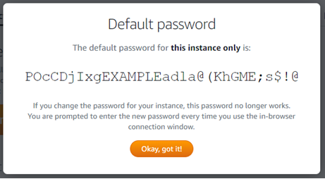 Windows default administrator password in the Lightsail console.
