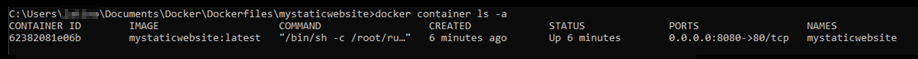 Result of docker container command