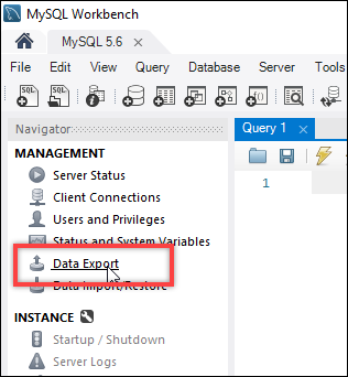 MySQL Workbench data export option