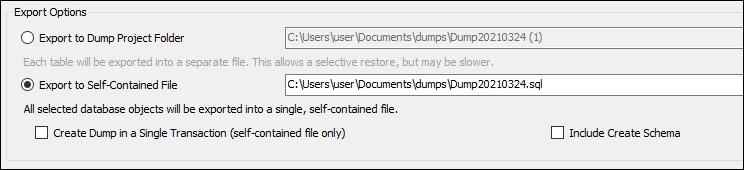 MySQL Workbench export options