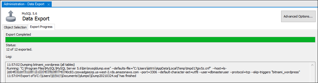 MySQL Workbench export progress