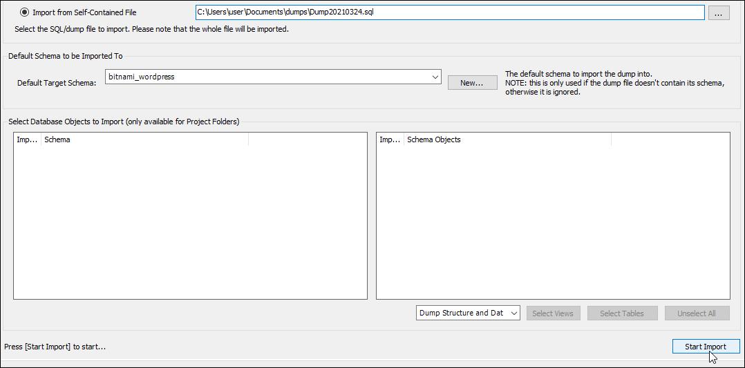 MySQL Workbench start import