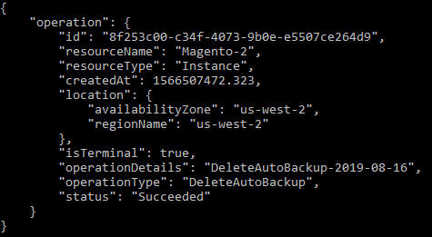 Delete auto snapshot operation result.