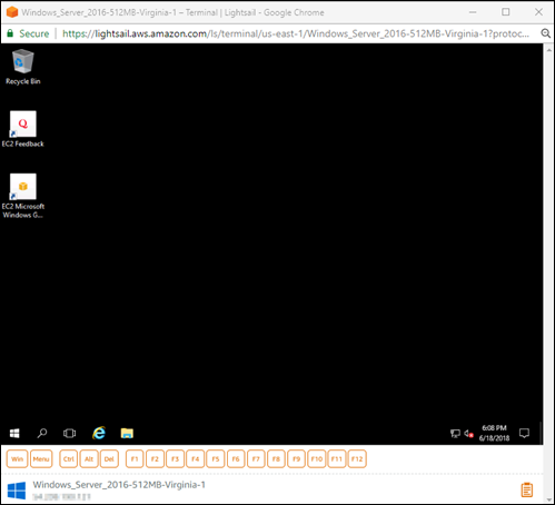 The browser-based RDP client in Lightsail.
