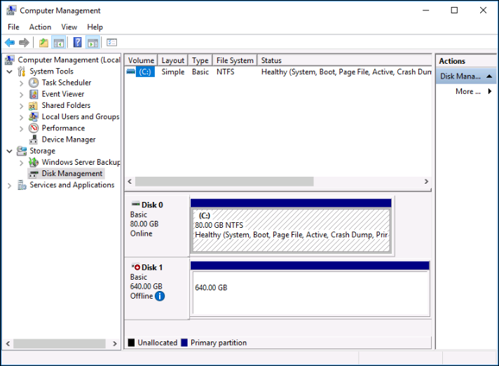 Disk Management on a Windows instance.
