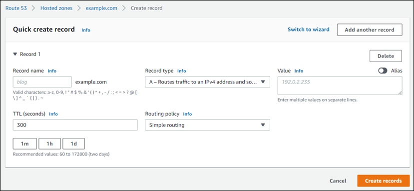 Create a record in Route 53 to point an alias to your Lightsail load  balancer