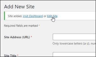 Edit Site page