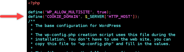 Edit to the wp-config file