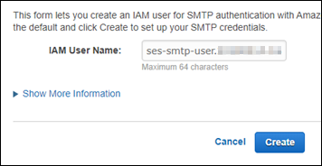 IAM user name for SMTP credentials in the Amazon SES console.