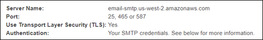 The SMTP settings displayed in the Amazon SES console.