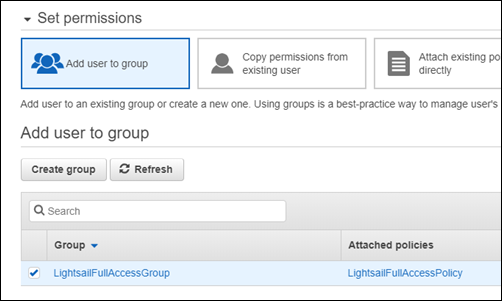 Add user to a group in the IAM console.