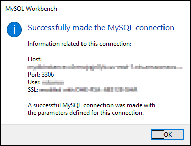 MySQL Workbench successful connection test