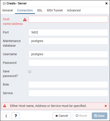 pgAdmin server configuration form