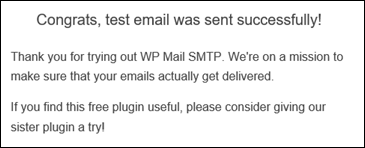 Test email success confirmation.