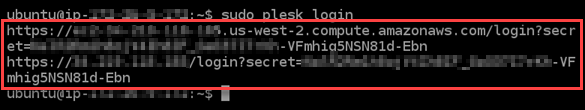 One-time sign in for your Plesk instance.
