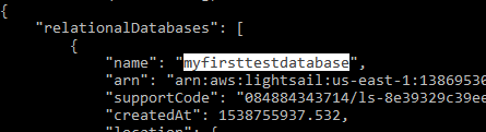 Copy the database name.