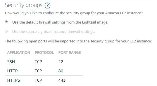 Security group settings on the Create an Amazon EC2 instance page.