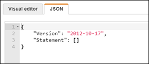 The JSON tab in the IAM console.