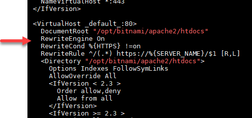 Apache configuration file edited for HTTP to HTTPs redirection.