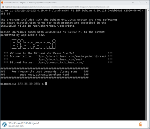 Browser-based SSH client terminal window in the Lightsail console.