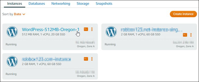 Launching and configuring WordPress in Lightsail.