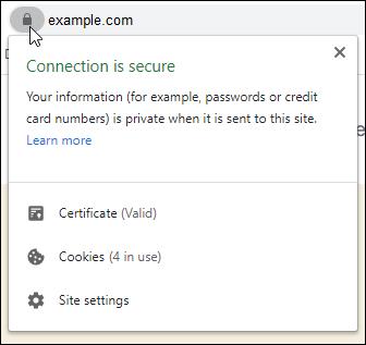 Secured website confirmation