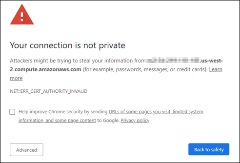 Chrome warning for private connection.