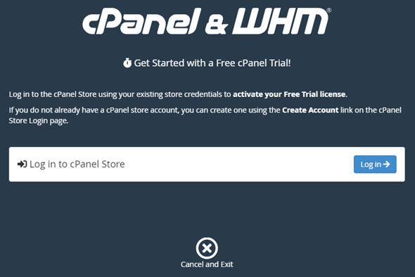 cPanel get started with a free trial