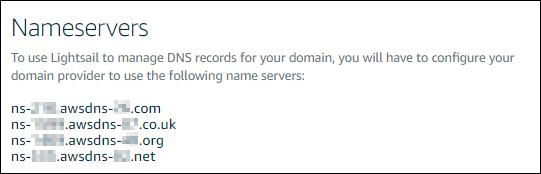Los servidores de nombres de zonas DNS en la consola de Lightsail.