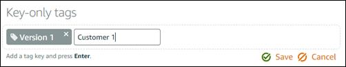 Etiquetas de solo clave en la consola de Lightsail.