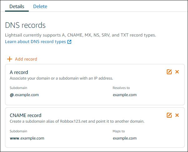Editor de zona DNS en la consola de Amazon Lightsail.