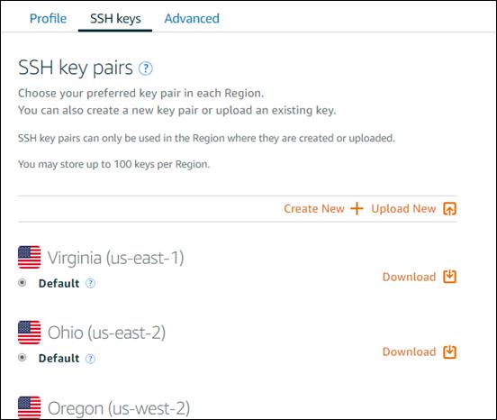 pares clave SSH en el Lightsail consola