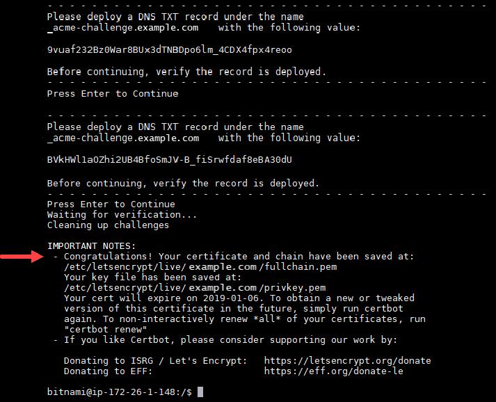 Solicitud correcta de certificado de Let's Encrypt.