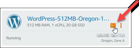 Conexión rápida de SSH en la página Lightsail de inicio de .
