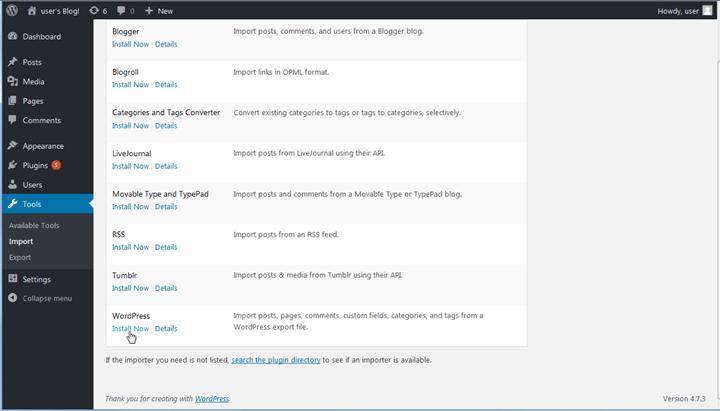 Installer l'outil d'importation dans le WordPress tableau de bord
