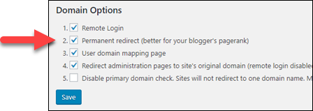 WordPress ドメインマッピングのオプション。