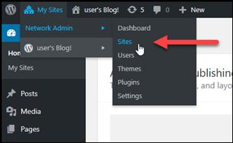 WordPress 管理ダッシュボードのサイトメニュー。