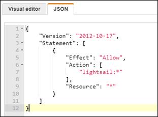 Lightsail へのアクセス許可のポリシーが挿入された IAM コンソールの [JSON] タブ。