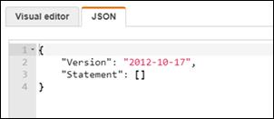 IAM コンソールの [JSON] タブ。