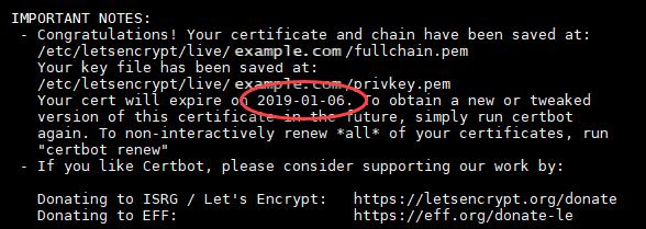Let's Encrypt 証明書の更新日。