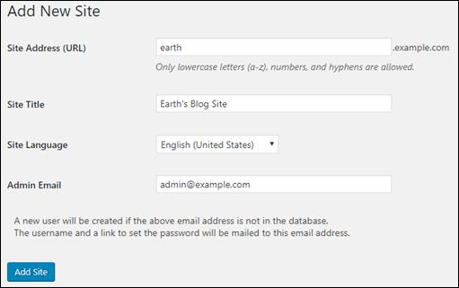 WordPress 管理ダッシュボードで新しいサイトを追加する。