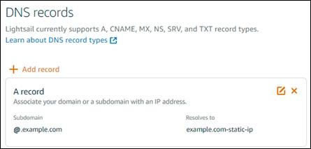 Lightsail コンソールの DNS ゾーンエディタ。