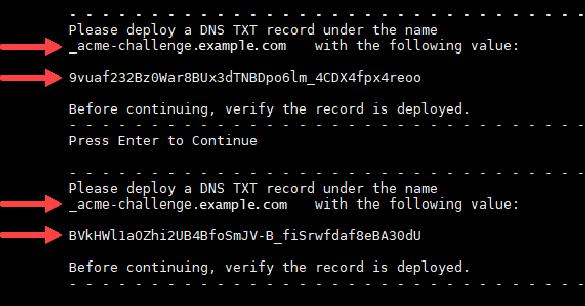 Let's Encrypt の証明書の TXT レコード。