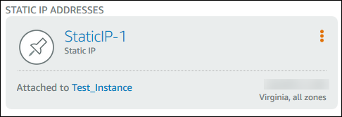 インスタンスにアタッチされた静的 IP アドレス