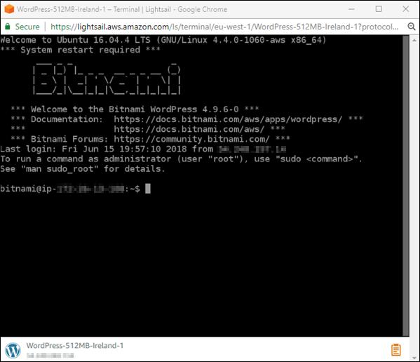 のブラウザベースの SSH ターミナルAmazon Lightsail